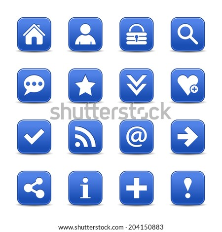 16 cobalt satin icon with basic sign. Rounded square web internet button with gray shadow on white background. Vector illustration design element 8 eps - stock vector