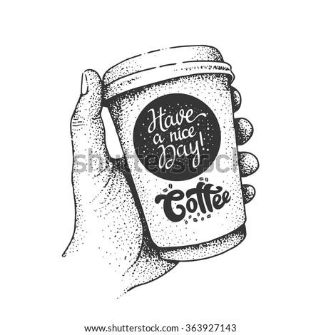 Coffee cup in hand. Vector art. - stock vector