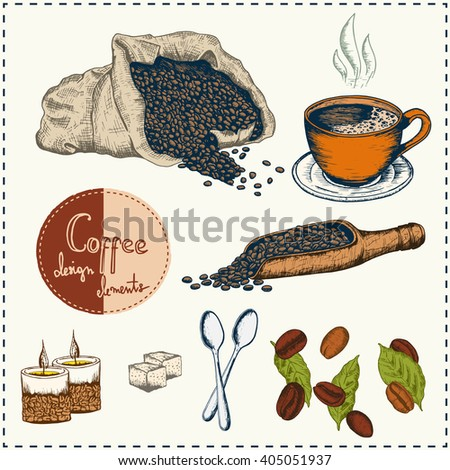 Coffee design elements. Can be used in your own way of design. Hand drawn elements. Coffee mug, spoon, candles, coffee grains, bag with coffee, trowel. Colored version. Vector - stock. - stock vector