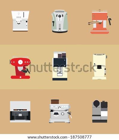 9 Coffee Machine - stock vector