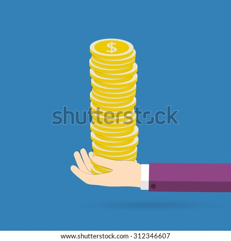 Coins in hand. Concept of success and big profits. Vector illustration.  - stock vector