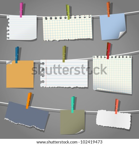 Collection of various notes and a clothes pegs. Vector eps10 - stock vector