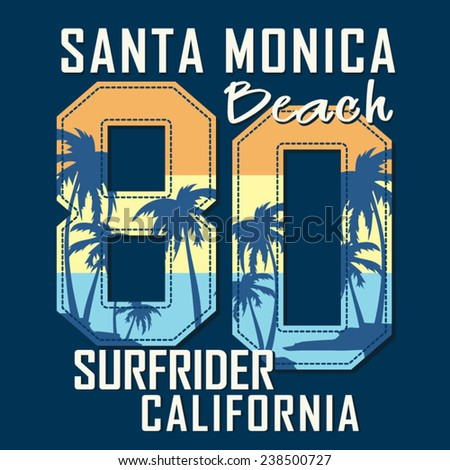 College Surf sport California typography, t-shirt graphics, vectors - stock vector