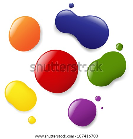 6 Color Blobs, Isolated On White Background, Vector Illustration - stock vector