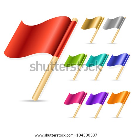 9 Color Flags, Isolated On White Background, Vector Illustration - stock vector