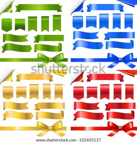 4 Color Ribbons Set, Isolated On White Background, Vector Illustration - stock vector