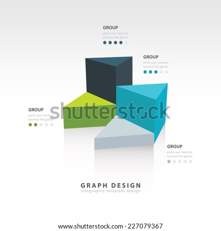 4 color triangle graph infographic - stock vector