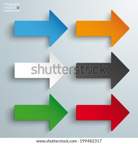 6 colored arrows on the grey background. Eps 10 vector file. - stock vector