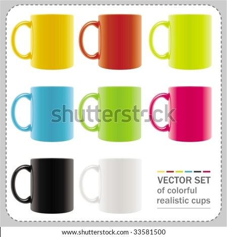 8 colored mugs with abstract summer drawings. To see similar,  please VISIT MY PORTFOLIO - stock vector