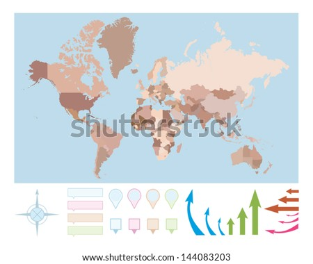 Colored world map, Vector illustration. - stock vector