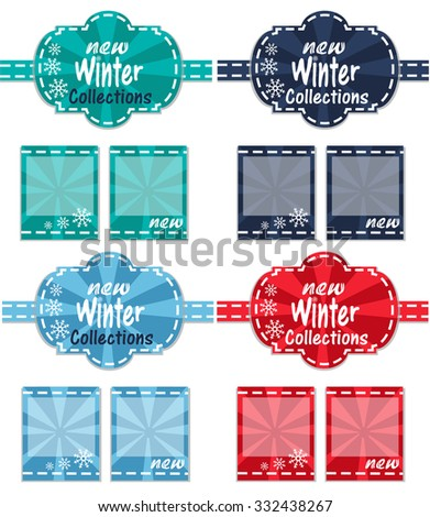 4 colorful labels for clothes. New Winter Collections. - stock vector