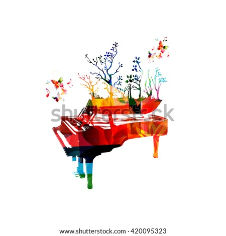 Colorful music background with piano and butterflies - stock vector