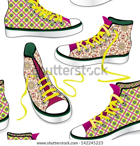 Colorful sport shoes seamless pattern - stock vector