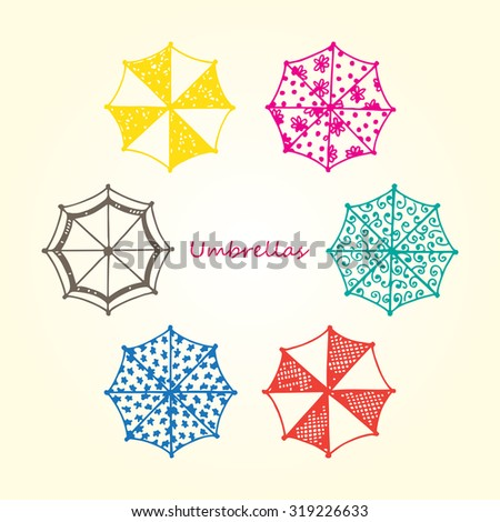Colorful Umbrellas icons. Vector Collection of hand drawn Doodles Umbrellas - stock vector