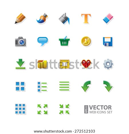 23 Colorful web app graphic editor tools icons on white background. RGB EPS 10 vector icons set - stock vector
