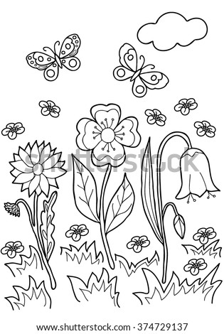 Coloring  book.  Hand drawn. Black and white.Adults, children.Flowers. - stock vector