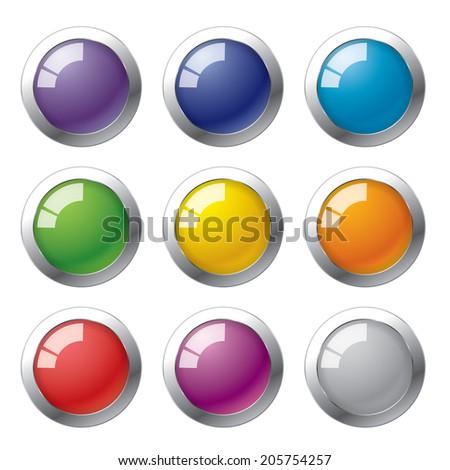 9 colors button - stock vector