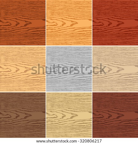 9 colors wood texture background. Blank natural pattern swatch template. Empty realistic plank with annual years circles. Backdrop size square format. Vector illustration design elements 8 eps - stock vector