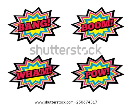 4 Comic Explosions. Bang, Boom, Wham and Pow. - stock vector