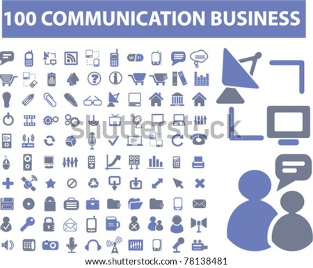 100 communication business icons, signs, vector illustrations - stock vector