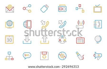 Communication Colored Outline Vector Icons 2  - stock vector