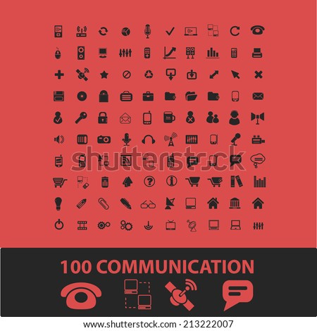 100 communication, connection isolated icons, signs, symbols, illustrations, silhouettes, vectors set - stock vector