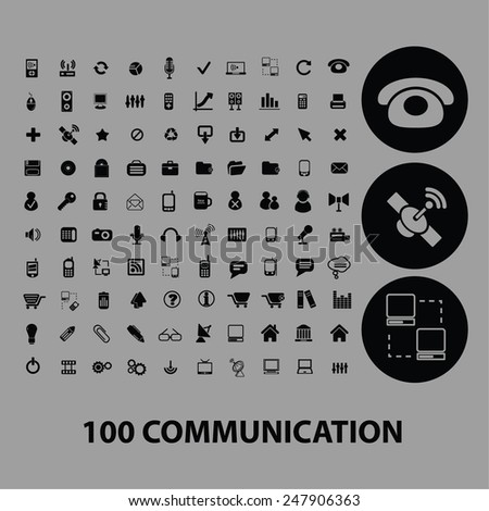 100 communication, connection, network, internet, icons, signs, illustrations set, vector - stock vector