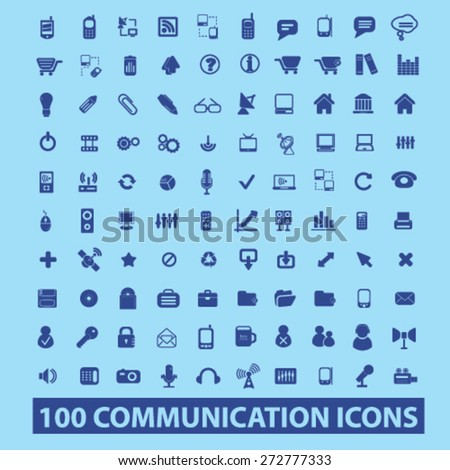 100 communication, connection, technology, phone, mobile. internet icons, signs, illustrations set, vector - stock vector