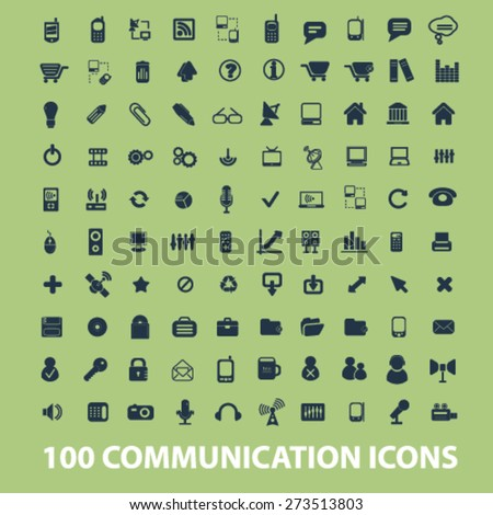 100 communication, connection, technology, phone, network isolated icons, signs, illustrations website, internet mobile design concept set, vector - stock vector