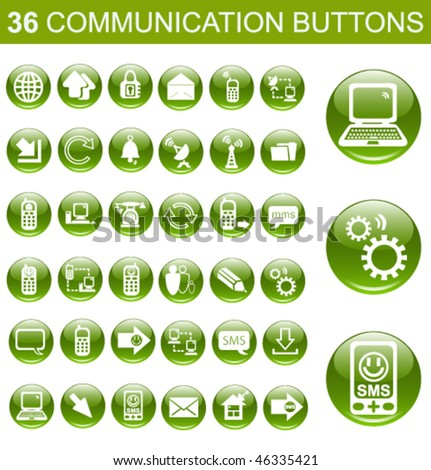 36 Communication Green Glossy Buttons Set - stock vector