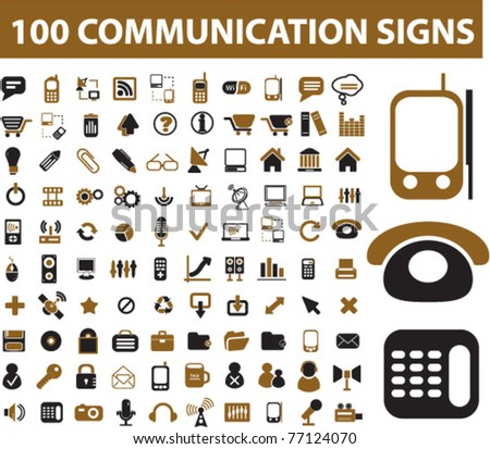 100 communication icons & signs, vector - stock vector