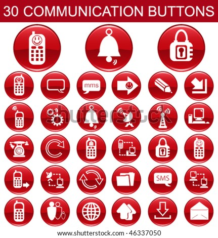 30 Communication Red Buttons Set - stock vector