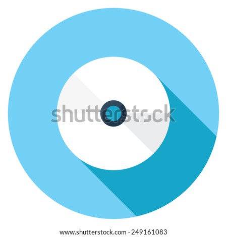 Compact disc flat icon. Modern flat icons with long shadow effect in stylish colors. Icons for Web and Mobile Application. EPS 10. - stock vector