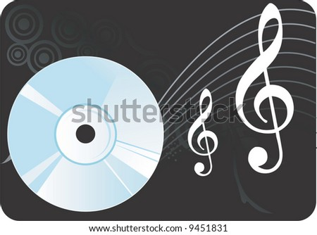 compact disc with music notes	 - stock vector