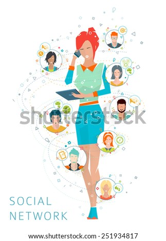 Concept of social media network. Collaboration of different people. Vector illustration. - stock vector