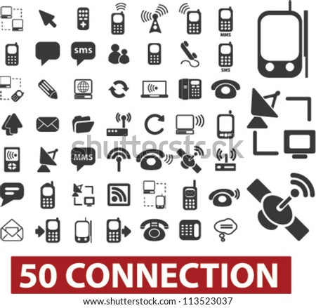 50 connection icons set, vector - stock vector