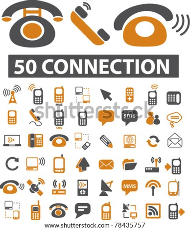 50 connection icons, signs, vector illustration - stock vector