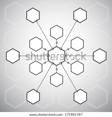 Connection of the thirteen  hexagonal cells on the background of the polygons. Vector graphics - stock vector