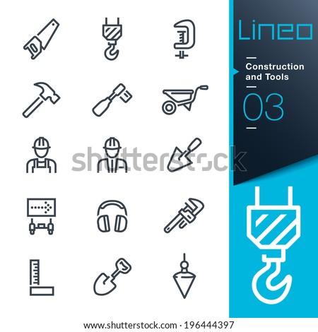 Construction and Tools outline icons - stock vector