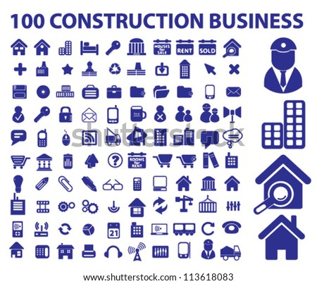 100 construction business icons set, vector - stock vector