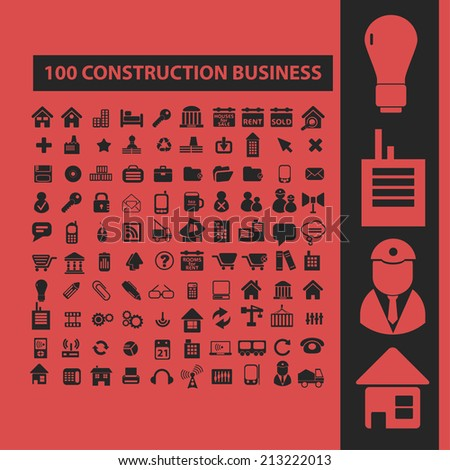 100 construction, business isolated icons, signs, symbols, illustrations, silhouettes, vectors set - stock vector