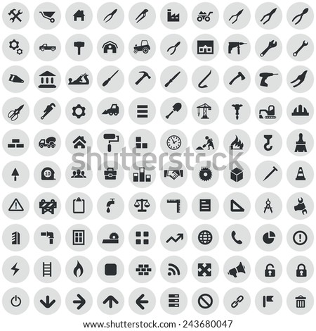 100 construction icons, black on circle gray background - stock vector