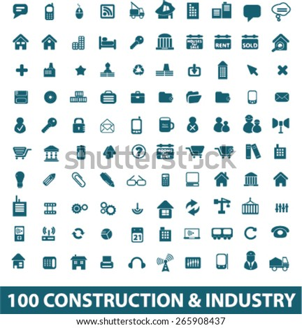100 construction, industry, factory, business icons, signs, illustrations design concept set for appliciation, website, vector on white background - stock vector