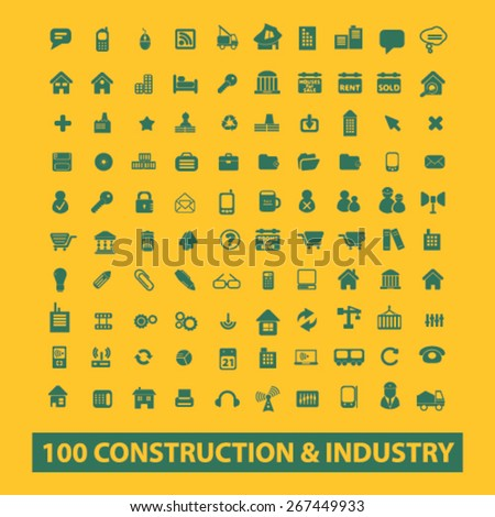 100 construction, industry, factory isolated web icons, signs, illustrations concept design set, vector - stock vector