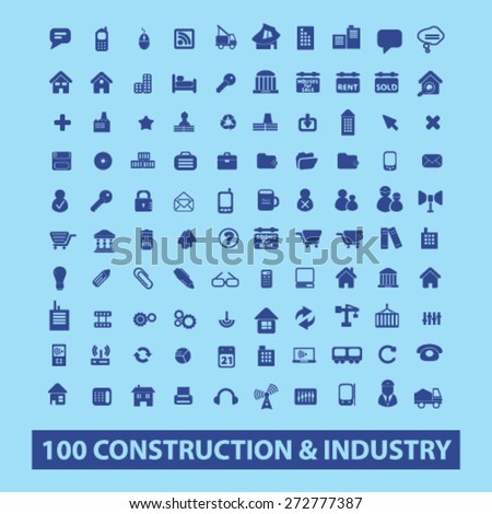 100 construction, industry icons, signs, illustrations set, vector - stock vector
