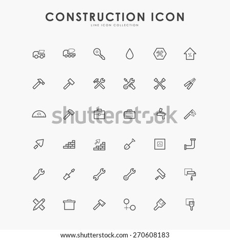 36 construction line icons - stock vector