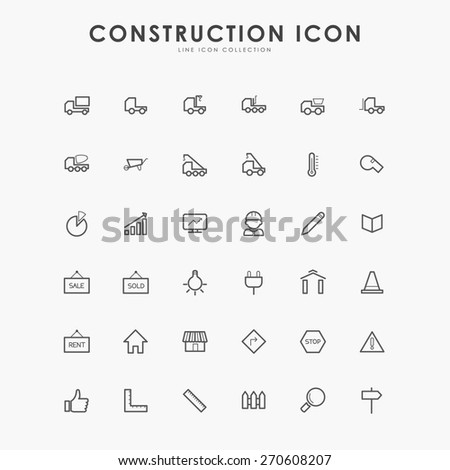 36 construction minimal line icons - stock vector