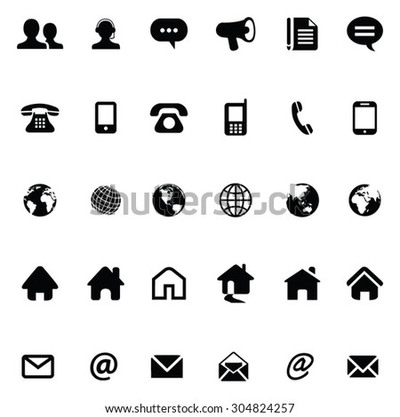 30 Contact Icons - stock vector