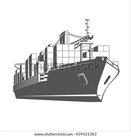 Container ship. - stock vector