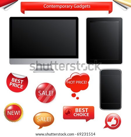 3 Contemporary Gadgets - Computer, Fictitious Touch Tablet And Phone, Isolated On White Background, Vector Illustration - stock vector